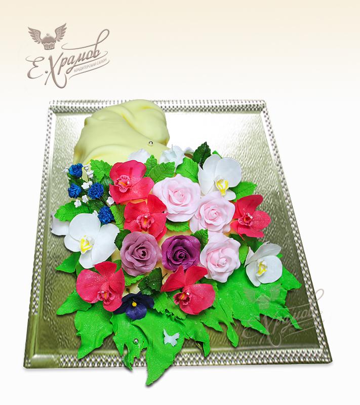 рецепт торта букет цветов из крема
