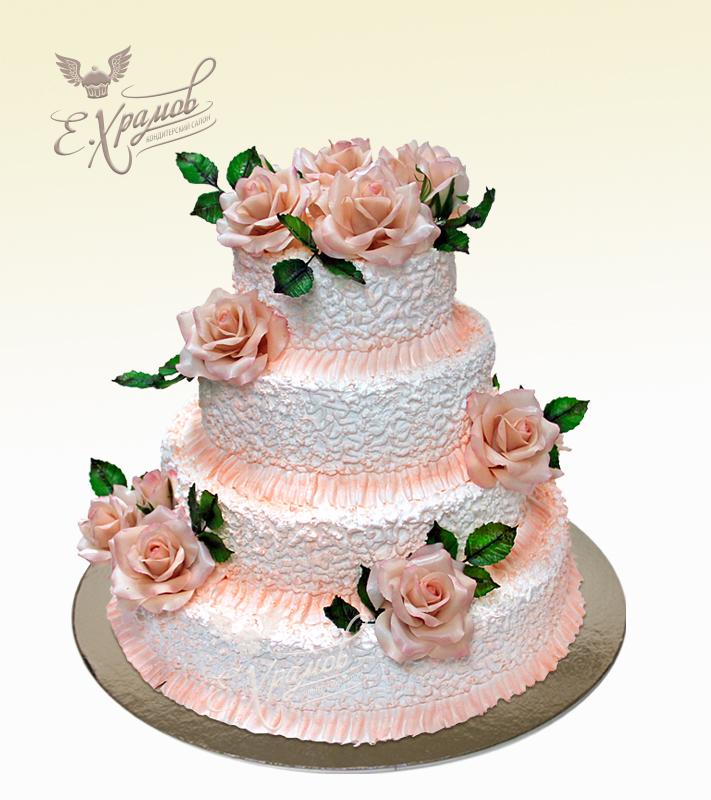 Кремовые торты на свадьбу фото